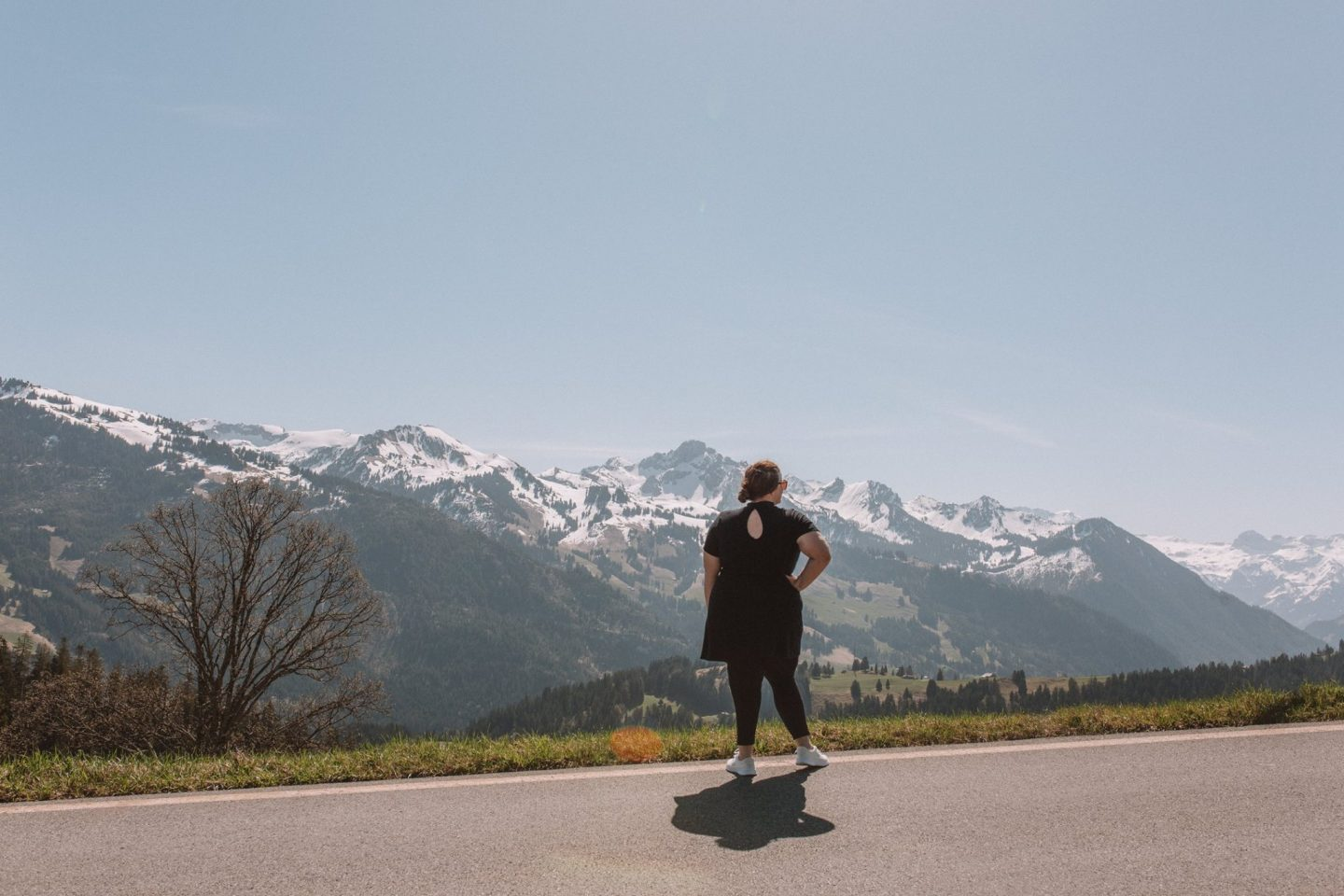 How to get incredible photos of yourself while traveling solo in Jaun Pass, Switzerland
